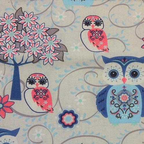 Masque Enfant HIBOU Bleu coton 2 couches, 2 p