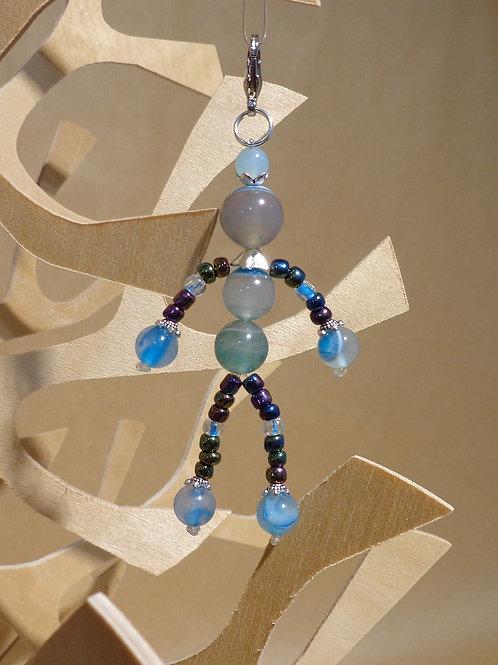 Poupette Agates gris/bleu - pierres et perles