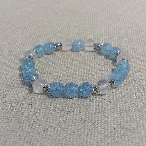Bracelet Quartz bleu et rose, INOX, 8mm