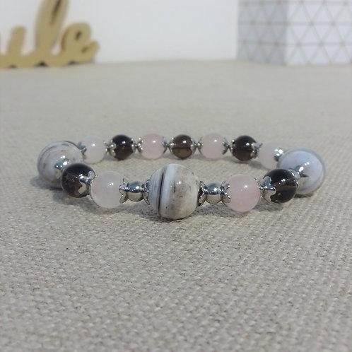 Bracelet Quartz fumé et rose, Agate rayée, INOX, gris rose