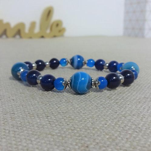 Bracelet Agate, Agate rayée, INOX, bleu