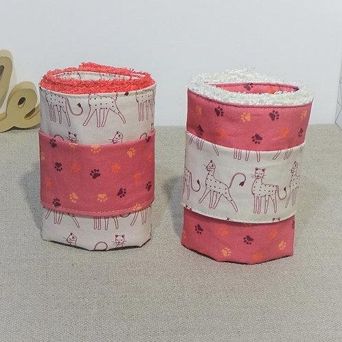 Serviettes de table PM Guépard & empreintes, éponge de bambou avec rond pression
