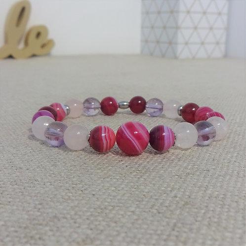 Bracelet Améthyste, Quartz rose, Agate rayée, INOX, violet rose, 8mm et 10 mm
