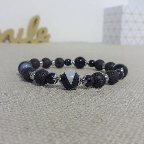 Bracelet Agate rayée, Pierre de lave, INOX, noir
