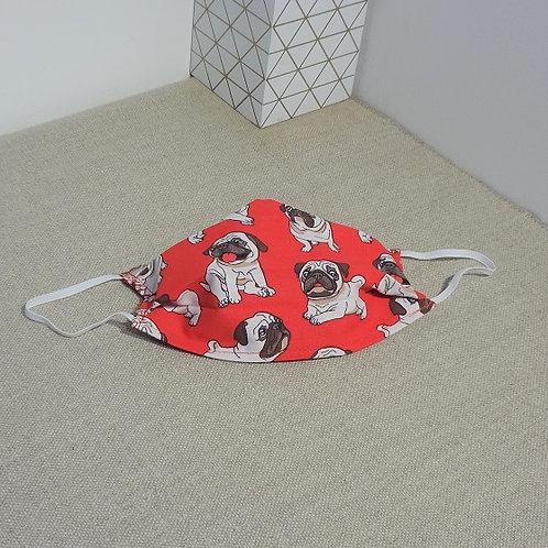 Masque enfant tissus PETITS CHIEN BULL rouge coton 2 couches