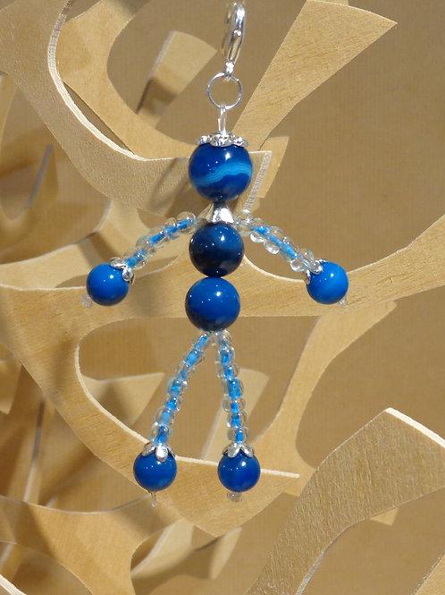 Poupette Agates bleu foncé  - pierres et perle, mous