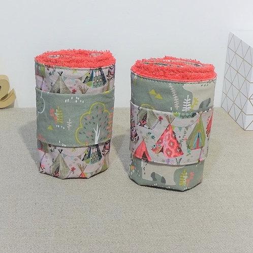 Serviettes de table PM tipis ours, doublée éponge de bambou avec rond pression