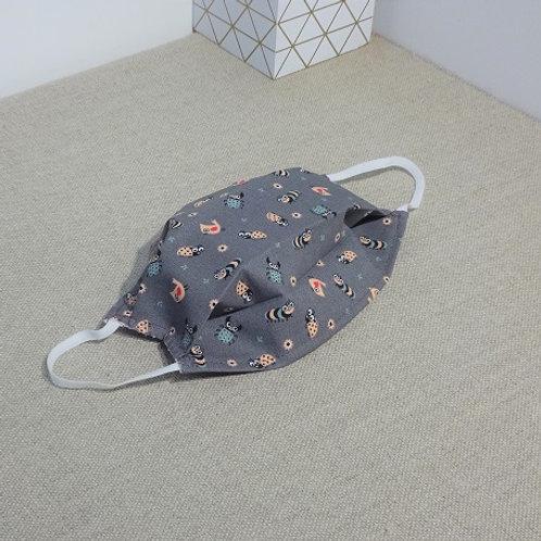 Masque enfant INSECTES Rose Gris coton 2 couches, 2 plis