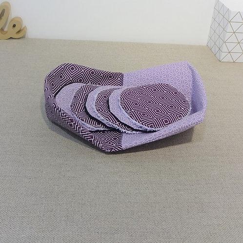 Panière + 6 Lingettes demaquillantes lavables motifs square et Saki violet