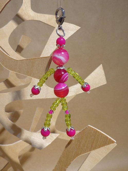 Poupette Agates roses/vert - pierres et perles