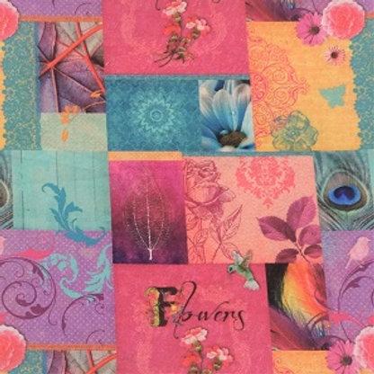 Masque Tissu PATCHWORK Nature Rose Turquoise coton 2 couches, 2 p