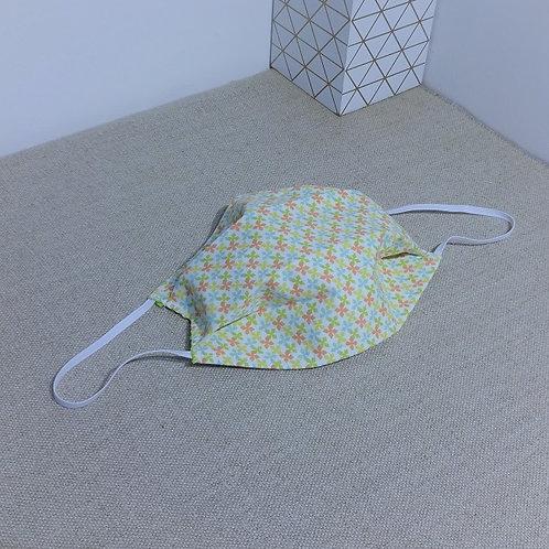 Masque Tissu Petit moulin à vent vert orange coton 2 couches, 2 plis, pinc