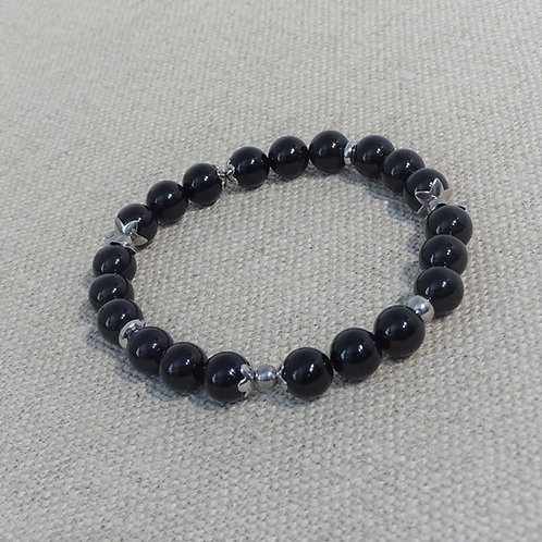 Bracelet Agate, INOX noir rayé gris