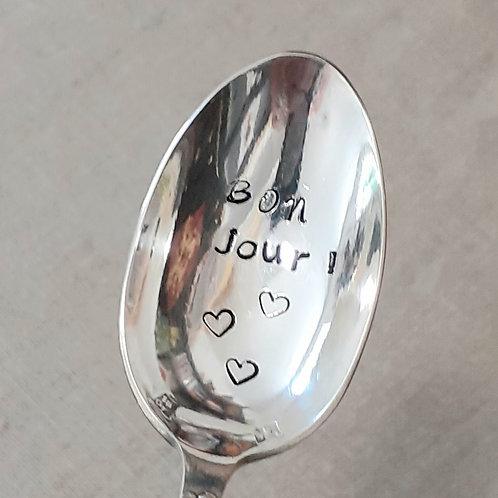 """Cuillère Vintage Gravée """"Bonjour"""""""