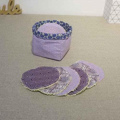 Panière reversible (seule) coton Oeko Tex motif Riad bleu Saki violet