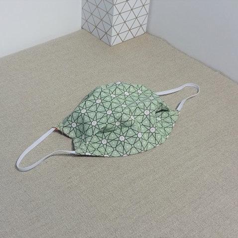 Masque PERSIA Vert amande coton 2 couches, 2 plis, pince nez.