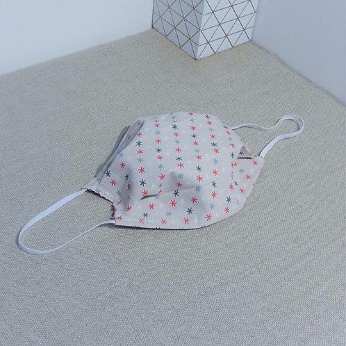 Masque Tissu Etoiles gris coton 2 couches, 2 plis, pince nez