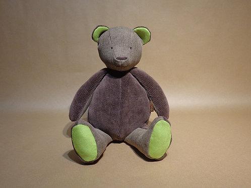 Nounours Big Bear - marron Pull recyclé, toile assortie et suédine vert anis.
