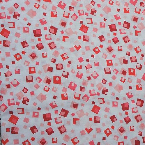 Masque enfant tissus PETITS CARRES rouge rose rouge coton 2 couches
