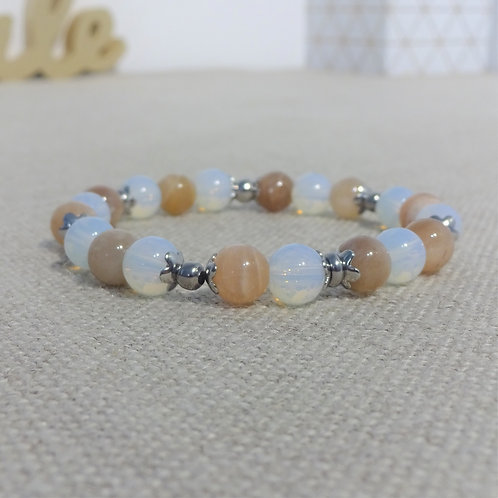Bracelet Pierre de lune, Opaline, INOX blanc naturel