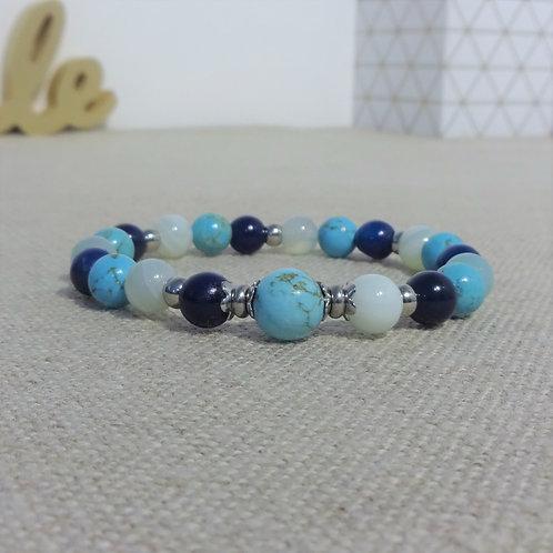 Bracelet Turquoise, Agate, INOX, bleu ciel/nuit