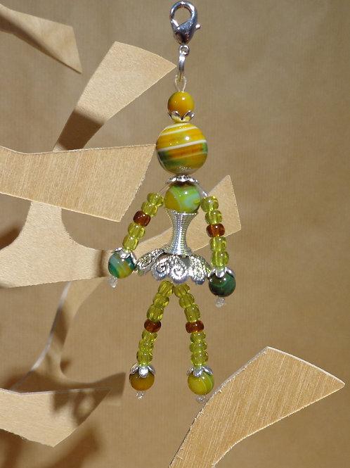 Poupette Agates chartreuse coupelle métal argenté - pierres et perles