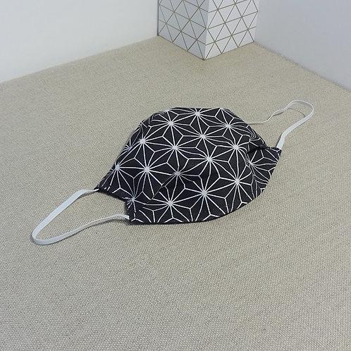Masque Tissu Grand SAKI Noir, coton 2 couches, 2 plis, pince nez am