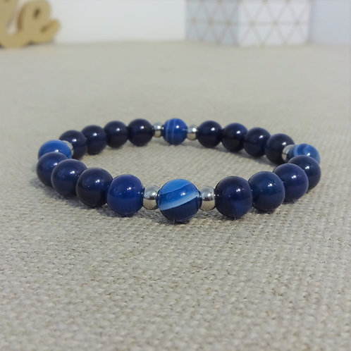 Bracelet Agate rayée, INOX, bleu, 8mm