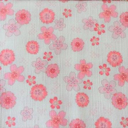 Masque Tissu CERISIER Rose Blanc coton 2 couches, 2 p