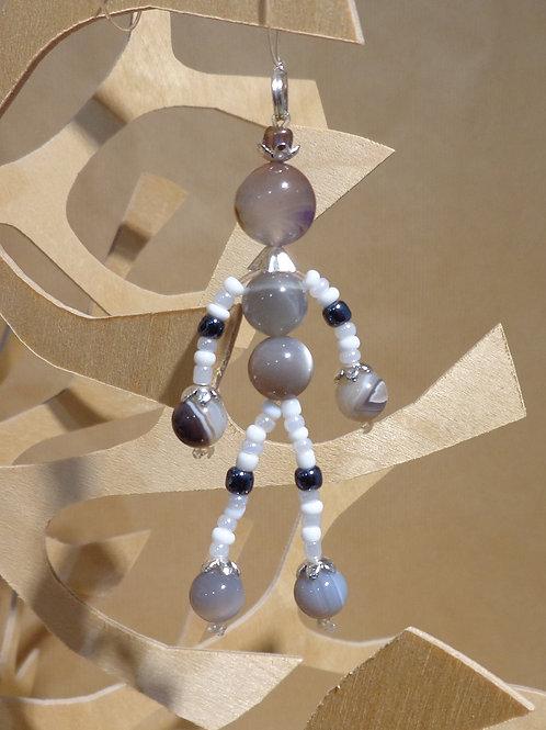 Poupette Agates gris/blanc - pierres et perles
