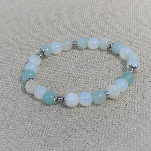 Bracelet Opaline, Agate rayée, INOX, bleu