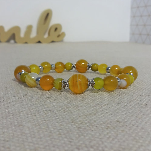 Bracelet Agate rayée, INOX, jaune