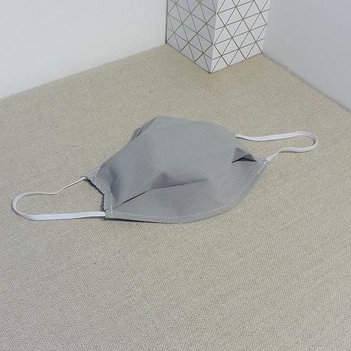 Masque Tissu Gris, coton 2 couches, 2 plis, pince nez am