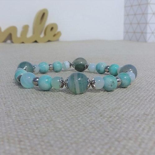 Bracelet Agate rayée, jade, INOX, bleu ciel