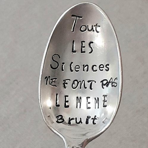 """Copie de Cuillère Vintage Gravée """"Tous les Silences ne font pas le même bruit"""""""
