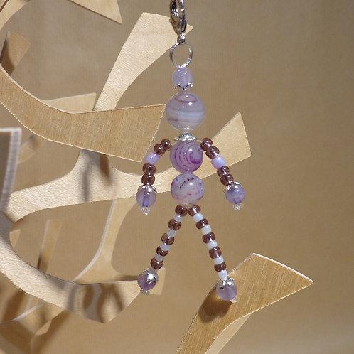 Poupette Agates violettes- pierres et perle, mousqueton