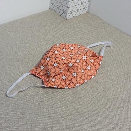 Masque Tissu PERSIA Orange coton 2 couches, 2 plis, pince nez.