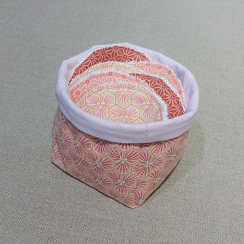 Panière + 6 Lingettes démaquillantes lavables Rose Corail et Brique