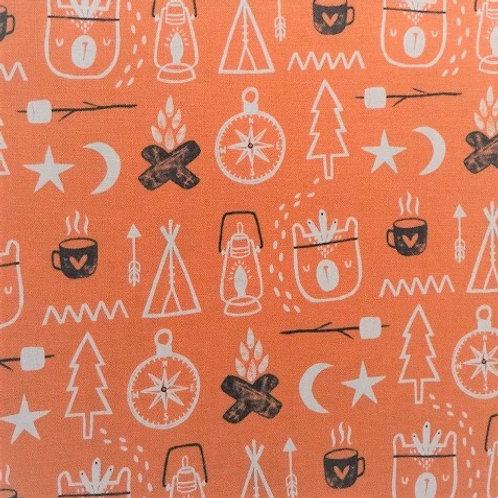 Masque enfant tissus OURS CAMPEURS orange brun coton 2 couches