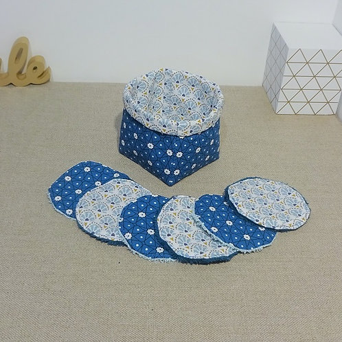 Panière + 6 Lingettes démaquillantes Persia Bleu canard et Sao Bento Ciel