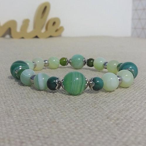 Bracelet Agate rayée, INOX, vert