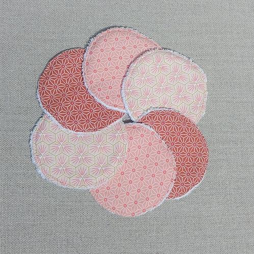 6 Lingettes démaquillantes lavables Rose Corail et Brique