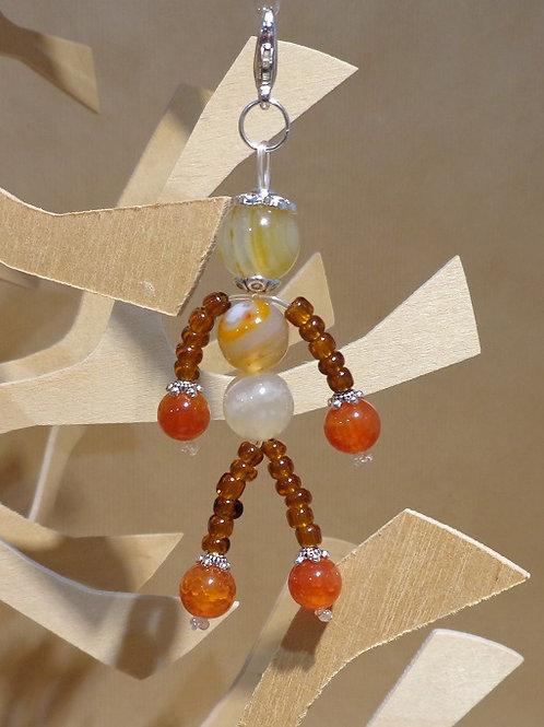 Poupette agates jaune-orange - pierres et perle, mousqueton métal arge