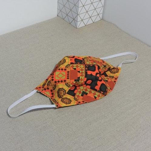 Masque GEOMETRIC Orange Noir coton 2 couches, 2 plis, pince nez.