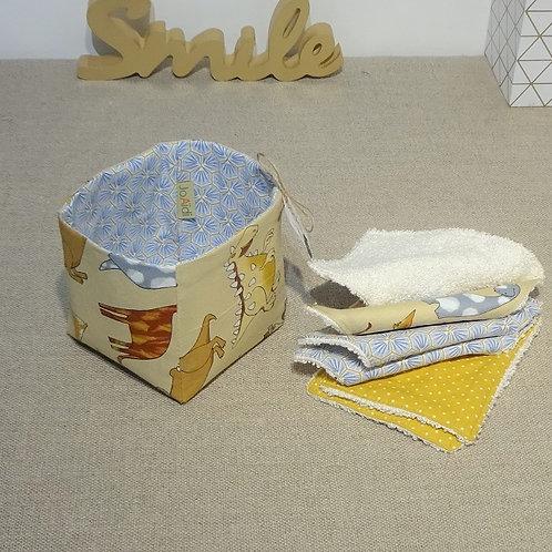 Paninèe de 6 Lingettes bébé éponge de bambou Oekotex Dino moutarde et bleu