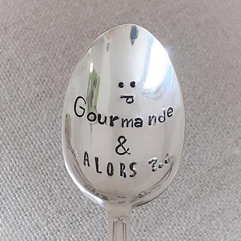 """Cuillère Vintage Gravée """"Gourmande et Alors ?.."""""""
