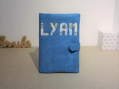 Protège Carnet de Santé LYAM suédine turquoise et imprimé Chouettes