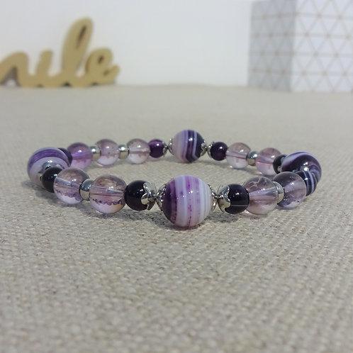 Bracelet Agate rayée, Améthyste, INOX, violet