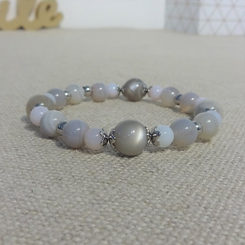 Bracelet Agate rayée, Pierre de lune grise, INOX, gris