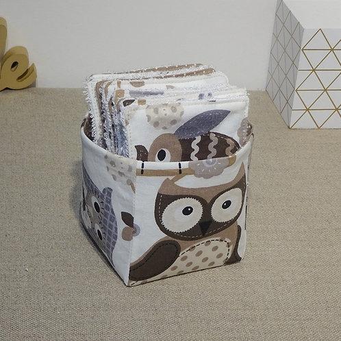 Panière + 12 Lingettes bébé lavables éponge de bambou et coton imprimé c